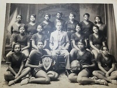 Antique 1933 African American Girls Basketball Team Photo Downington Industrial