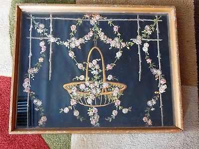 Framed Woolwork Basket And Swags Of Roses.victorian Possibly.