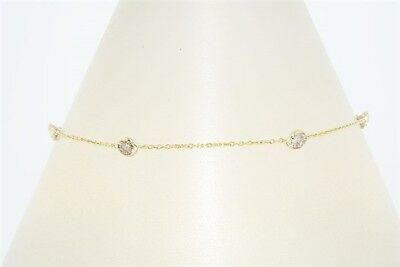 $2,500 .60Ct Natural Cognac Diamond By The Yard Bracelet 18K Yellow Gold