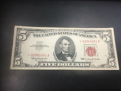 1963 A $5 United States Star Note *Rare* Red Seal *02961481