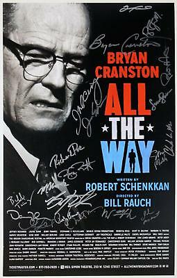 ALL THE WAY Cast William Jackson Harper, Bryan Cranston Signed Broadway Poster