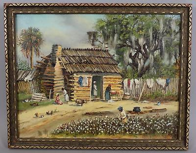 Antique American Southern Folk Art Black Americana Cotton Picking Oil Painting
