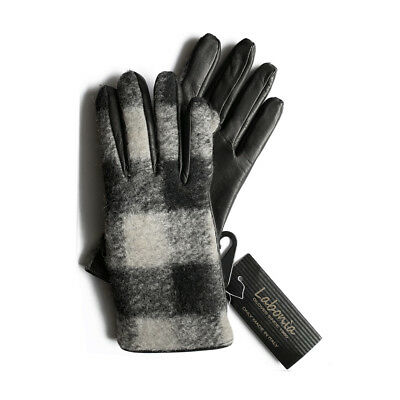 Labonia Womens Size 7 Black and Gray Leather Wool and Cashmere Italian Gloves