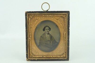 Antique 6th Plate Ambrotype Photo Relaxed Woman in Shawl Hanging Frame Case