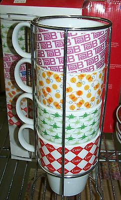 "Coca Cola Ceramic Mug Set ""flavor Blast"" Fanta - Tab - Sprite- Coke In Caddy"