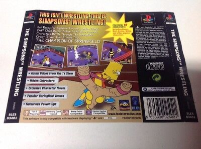 PlayStation 1 Rear Insert The Simpsons Wrestling  Ps1 Psx Back Cover Only