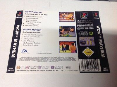 PlayStation 1 Rear Insert Wcw Mayhem Ps1 Psx Back Cover Only