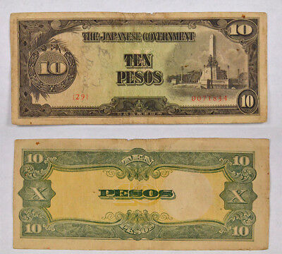 """Philippines Japanese Occupation Wwii 10 Pesos """"short Snorter"""" Note ! Fantastic !"""