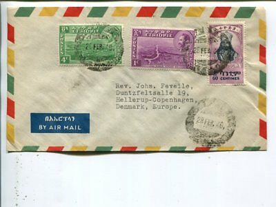 Ethiopia air mail cover to Denmark 1949