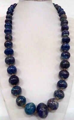 "Stunning Vintage Estate *heavy* Chunky Blue Tone Stone Bead 29"" Necklace! 1826X"