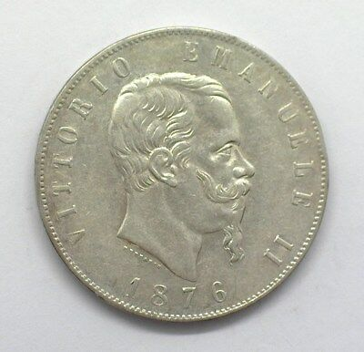 Italy 1876-R Silver 5 Lire  Nearly Uncirculated Km#8.4