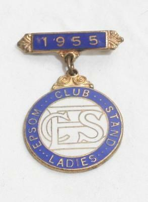 Antique Vintage Horse Racing Enamel Badge - Epsom Ladies 1955