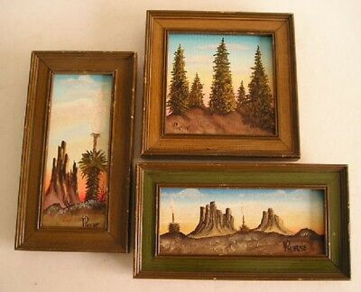 3 Vintage Miniature Landscape Paintings Signed HORNE