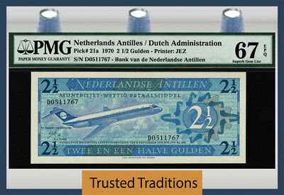 "TT PK 21a 1970 NETHERLANDS ANTILLES 2 1/2 GULDEN ""JETLINER"" PMG 67 EPQ SUPERB!"