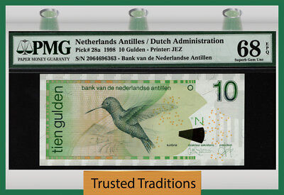 "TT PK 28a 1998 NETHERLANDS ANTILLES 10 GULDEN ""BIRD"" PMG 68 EPQ SUPERB GEM UNC!"