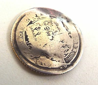 Antique SILVER British Worn Sixpence COIN Dated c.1820 King George III Era - C22