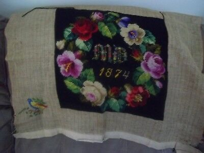 Antique Roses Needlepoint Dated 1876 for Pillow Cover  Sewing Project MD