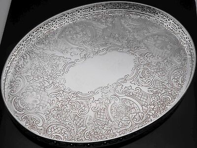 Vintage Chased Oval Drinks Tray - Silver Plated On Copper - Barker Ellis