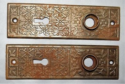 Pair Antique Eastlake Metal Door Knob Backplates Escutcheons Hardware Set Floral