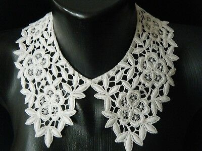 Old Vtg Collar with Revere embroidered Schiffli lace dimensional  h made Europe
