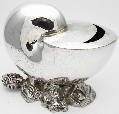 Antique Nautilus Shell Spoon Warmer - Silver Plated - Sheffield - Victorian