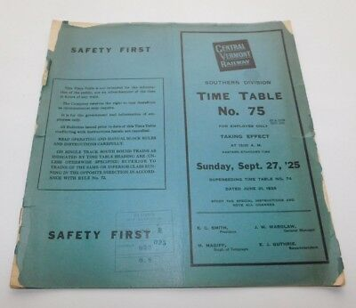 1925 Central Vermont Railway Southern Division Employee Timetable No. 75