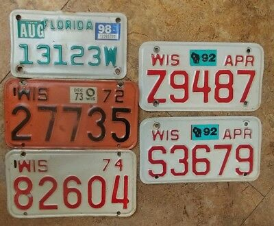 Lot 5 VINTAGE LICENSE PLATE/TAG MOTORCYCLE WISCONSIN 1972 74 89 & Florida 1998