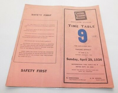 1934 Central Vermont Railway Southern Division Employee Timetable No. 9