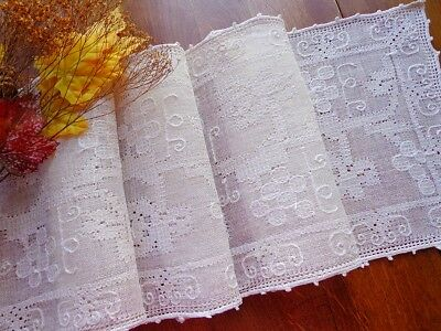 Antiq. Italian Handmade Pulled-Thread Lace Refectory Table Runner VINEYARD 100""