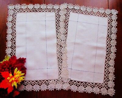 TWO Cream Linen Placemats or Tray Cloths Handmade Ecru Bedfordshire Lace Edges