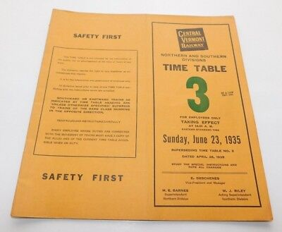 1935 Central Vermont Railway North & South Divisions Employee Timetable No. 3