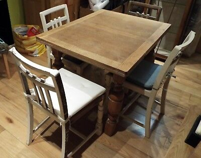 1940's Vintage Solid Oak Dining Table And Matching Four Chairs