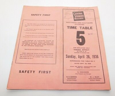 1936 Central Vermont Railway North & South Divisions Employee Timetable No. 5