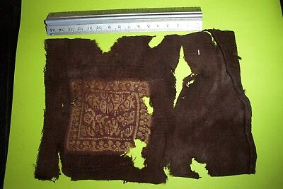 "Ancient Egyptian Christian Coptic Textile Fragment 8"" x 5 1/2"""