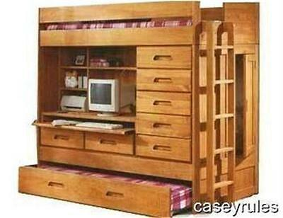 Bunk Bed Trundle Desk Woodworking Loft PLANS All in 1 + Toy Chest Box DIY Plans