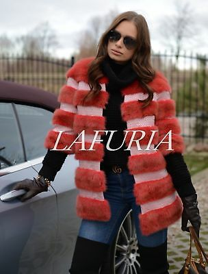 New 2018 Red Mink Fur Long Jacket Class Of Sable Chinchilla Coat Trench Vest Fox