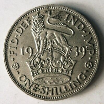 1939 GREAT BRITAIN SHILLING - Excellent Vintage Silver Coin - Lot #J15