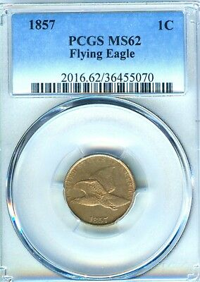 1857 Flying Eagle Cent PCGS MS 62 100% Original Nice For The Grade