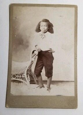 Antique Cabinet Card Photograph African American Child Girl Black Americana