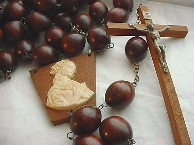 Vtg Giant Rosary Pageant Processional Wall Decoration Wooden Beads 65 inch