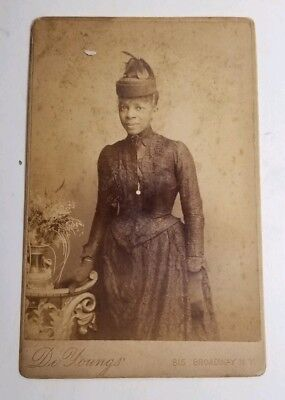 Antique Cabinet Card Photograph African American Woman 1800s Black Americana