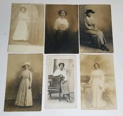 Lot of 6 Rare RPPC Antique African American Women Real Photo Postcard Unposted