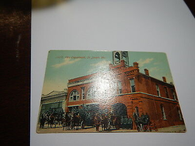 Old St. Joseph Missouri Mo horse drawn Fire Department post card 1913