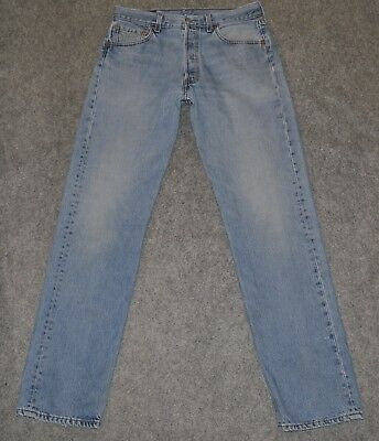 vintage LEVI'S 501 CLASSIC BUTTON FLY Made USA Distressed Denim 33 x 33 Jeans