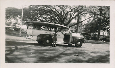 WWII 1944 NASP sailor visits Hilo Hawaii, photo Hilo Sampan buses at the station