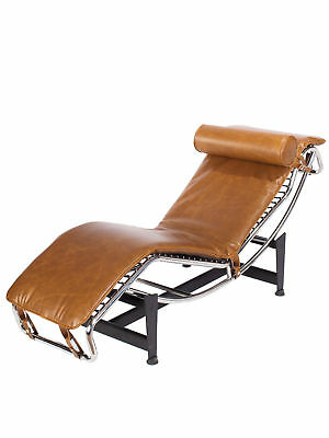 Chaise Lounge Chair Mid Century Modern Classic Design Premium Brown PU