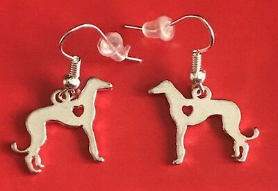 Silver Plated Heart Hound Fishhook Earrings w Protectors, Greyhound or Whippet