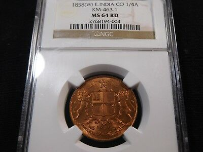 E57 India British East India Co. 1858(W) 1/4 Anna KM-463.1 NGC MS-64 Red