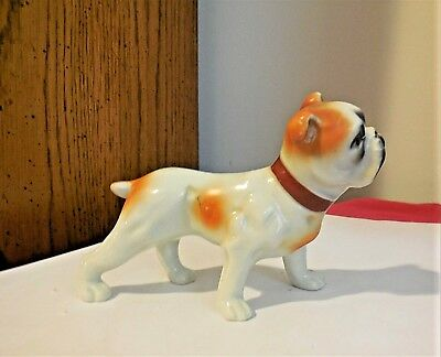 Vintage Porcelain Brown and White Bulldog  Figurine  - JAPAN