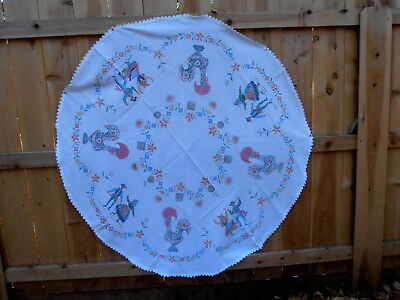 "Portugal Rooster Cross Stitched Embroidered Round 62"" Tablecloth Dancing Couple"